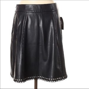 Worthington Grommet Lace Up Faux Leather Skirt